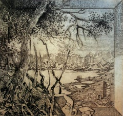 Eighteenth card from a journey - XXI Century, Contemporary Landscape Etching