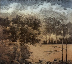 Third card from the journey - XX Century, Landscape Etching, Muted Colors