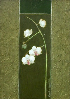 Orchid - XXI Century, Contemporary Still Life Painting, Textured, Green & White