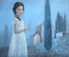Girl with feather - XXI Century, Contemporary Figurative Painting, Landscape