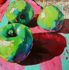 Apples 12 - XXI Century, Contemporary Still Life Oil Painting, Pop Art, Fruits