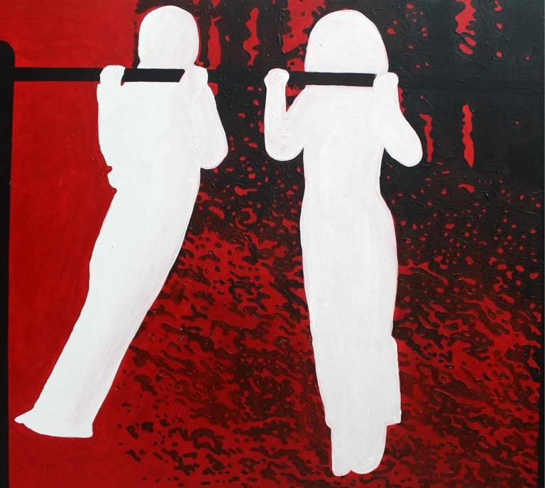 Untitled - XXI Century, Contemporary Figurative Oil Painting, Black Red & White For Sale 1