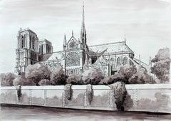 Paris, The Notre Dame Cathedral - Contemporary Landscape, Watercolor & Ink