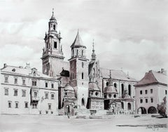 Cracow, St. Mary's Basilica - Contemporary Watercolor & Ink Landscape Painting