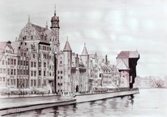 Gdansk - Contemporary Watercolor & Ink Landscape Painting, Architecture