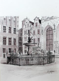 The Naptun's Fountain in Gdansk - Contemporary Watercolor & Ink Landscape