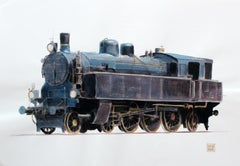 A locomotive - XXI Century, Contemporary Watercolor & Ink Painting, Realistic