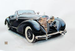 Mercedes 540K, 1936 - Contemporary Watercolor & Ink Painting Vehicle Vintage Car