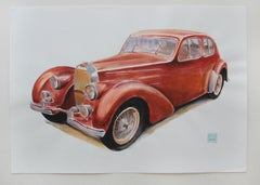 Bugatti type 57c, 1937 - Contemporary Watercolor & Ink Painting, Vintage Car