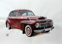 Volvo 164 - XXI Century, Contemporary Watercolor & Ink Painting, Vintage Car