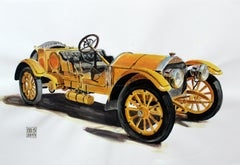 Mercedes Simplex - Contemporary Watercolor & Ink Painting, Vintage Vehicle