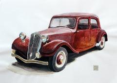 Citroen 15CV - Contemporary Watercolor & Ink Painting, Vintage Car, Realistic