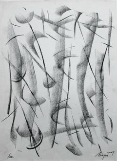 A forest - XXI Century, Contemporary Charcoal Drawing, Abstraction, Landscape