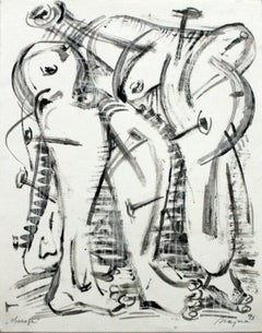 Obsessions - XX Century, Figurative Charcoal and Pencil Drawing, Abstraction