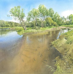 River Liwiec- Contemporary Watercolour, Waterscap, Painting, River