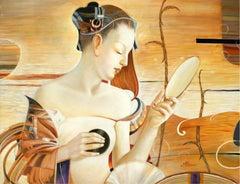 Mnemosyne - XXI Century Contemporary Figurative Oil Painting Portrait Warm Tones