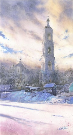 A Belfry in Winter, Watercolor, Contemporary Painting, Winter Scene