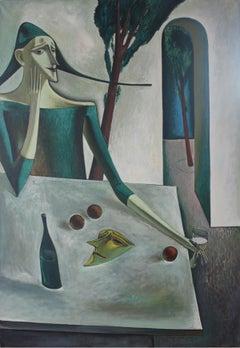 Afternoon - XX Century, Figurative Oil Painting, Portait, Still Life