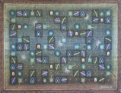 Untitled - XX Century, Geometrical Abstract Oil Painting, Mosaic, Muted Colors