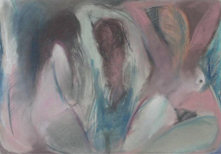 Radlinska Figurative Art - Nudes - XX Century, Contemporary Figurative Pastel Drawing, Muted Colors