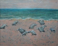 Birds on a beach - XXI Century Contemporary Figurative Pastel Drawing, Landscape