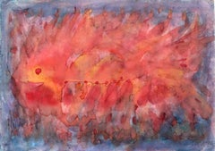 Ichtios - XX Century, Contemporary Abstract Watercolor Painting, Bright Colors