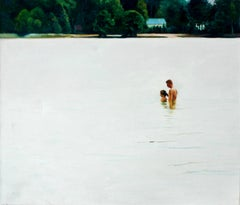 The Bathe L - XXI Century, Contemporary Figurative Oil Painting,  Landscape