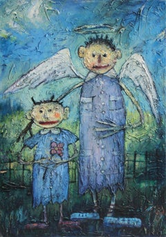Angels - XX Century, Contemporary Figurative Oil Painting, Textured, Portrait