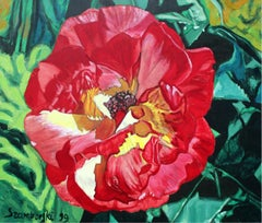 An autumn rose - XX Century, Realistic Figurative Floral Oil Painting, Bright