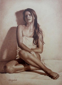 A girl - XXI century, Contemporary Realistic Figurative Mixed Media Drawing