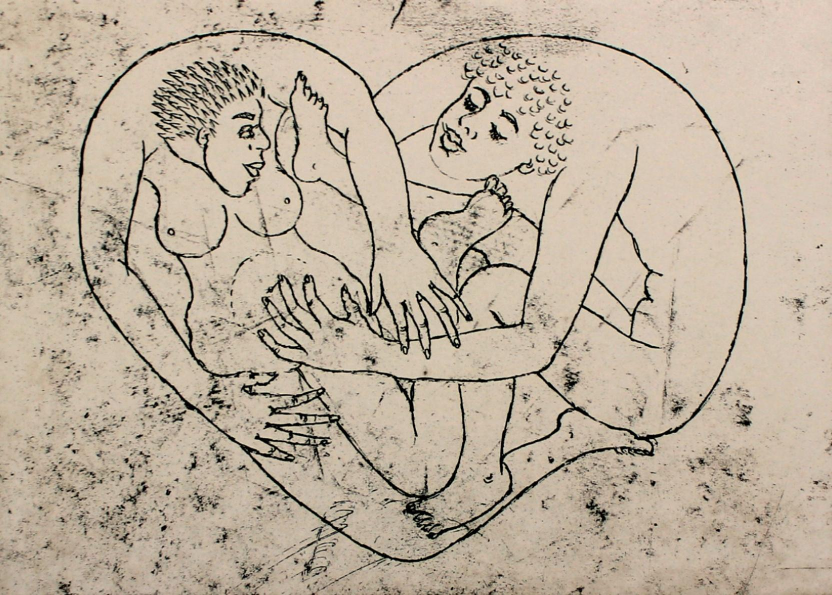 In the heart - XXI Century, Contemporary Figurative Nude Etching Print