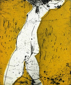 Nude I - XXI Century, Contemporary Figurative Etching Print, Bright Yellow