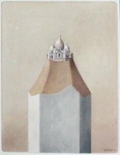 Paris. Sacre-ceur - Contemporary Oil Painting, Surrealism, Architecture
