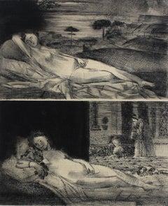 Avant Olympia - XXI Century, Contemporary Figurative Etching Print, Nude
