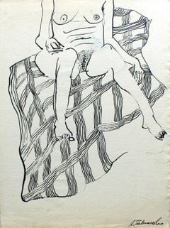 Untitled - XXI Century, Contemporary Figurative Ink Drawing, Female Nude