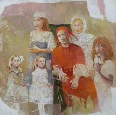 Echo - XX Century, Figurative Oil on Board Painting, Coloful, Realistic