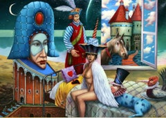 Expectance - Contemporary Surrealist Nude Oil On Canvas painting