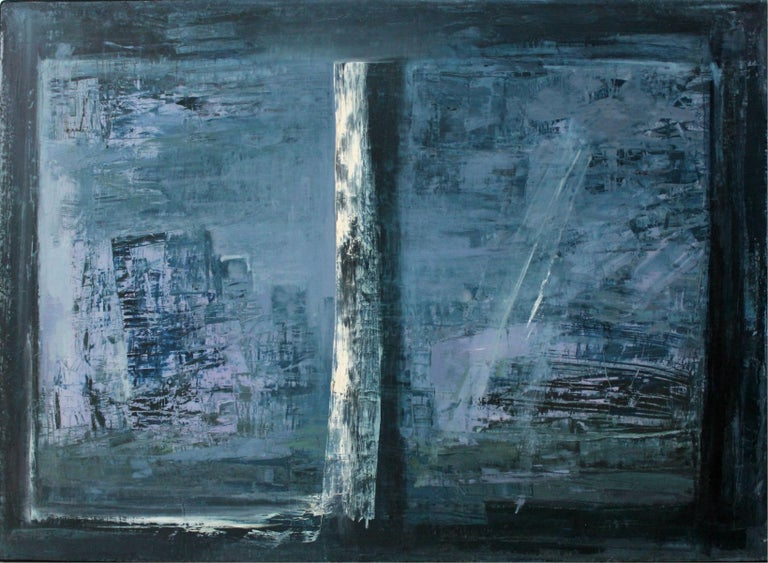Ewa Ziobrowska Abstract Painting - Window - XX Century, Abstract Oil Painting, Blue Shades, Textured