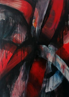 Pompoms - XXI Century, Contemporary Abstract Oil Painting, Red, Colorful Accents
