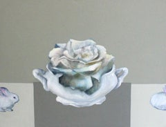 White rose - XXI Century, Contemporary Oil Figurative Painting, Still life
