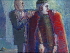 Two men - Contemporary Figurative Oil & Acrylic Painting, Colorful