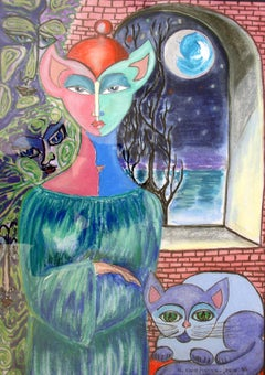 The night tree - Mixed Media Figurative Drawing, Fantasy, Surreal, Colorful