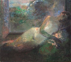 Sleeping by the window - XX Century, Figurative Oil Painting, Muted Colors, Nude
