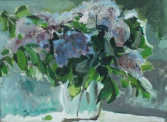 Lilacs - XX Century Figurative Oil & Acrylic Painting, Floral, Flower Still Life