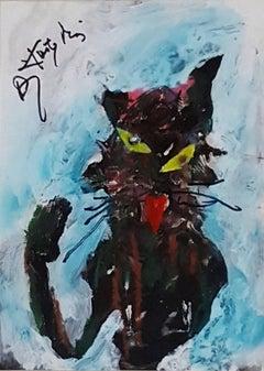 Mieus - XX Century, Contemporary Acrylic Painting, Cat, Animal, Grotesque