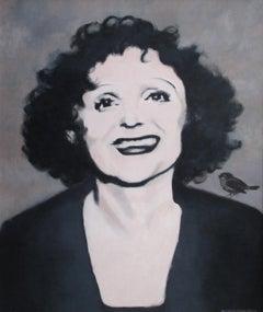Edith Piaf - Contemporary Portrait, Figurative Oil Painting, Gray Black & White