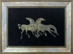 Horses - Mixed media, Bronze relief on velvet, Figurative, Animals