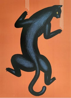 Panther - Digital print, Animal, Black & Orange, Young art, Vibrant colors