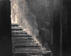 In the dark night - Contemporary mixed technique oil painting, Interior, Stairs