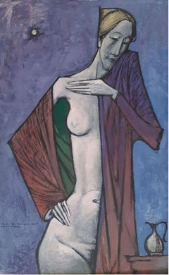 Nude - XX Century, Contemporary Figurative Own Technique on Board Painting